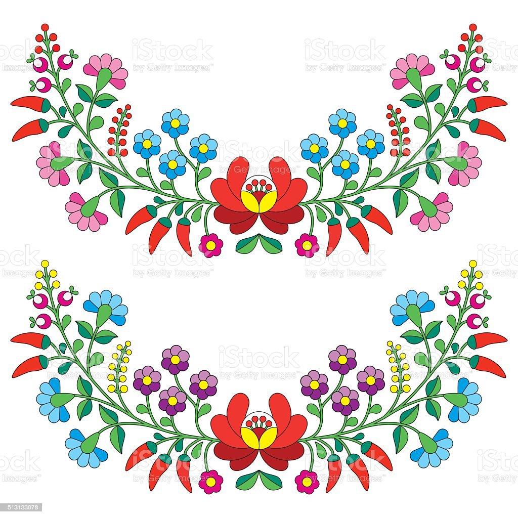 Ilustración de Húngaro Folk Flores Patrónkalocsai Bordado y más ...