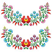 Hungarian floral folk pattern - Kalocsai, embroidery