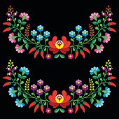 Hungarian floral folk pattern - Kalocsai embroidery
