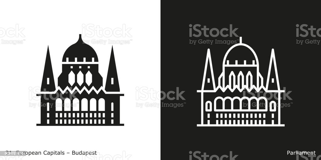 Hungarian Parliament Building Icon, Budapest vector art illustration