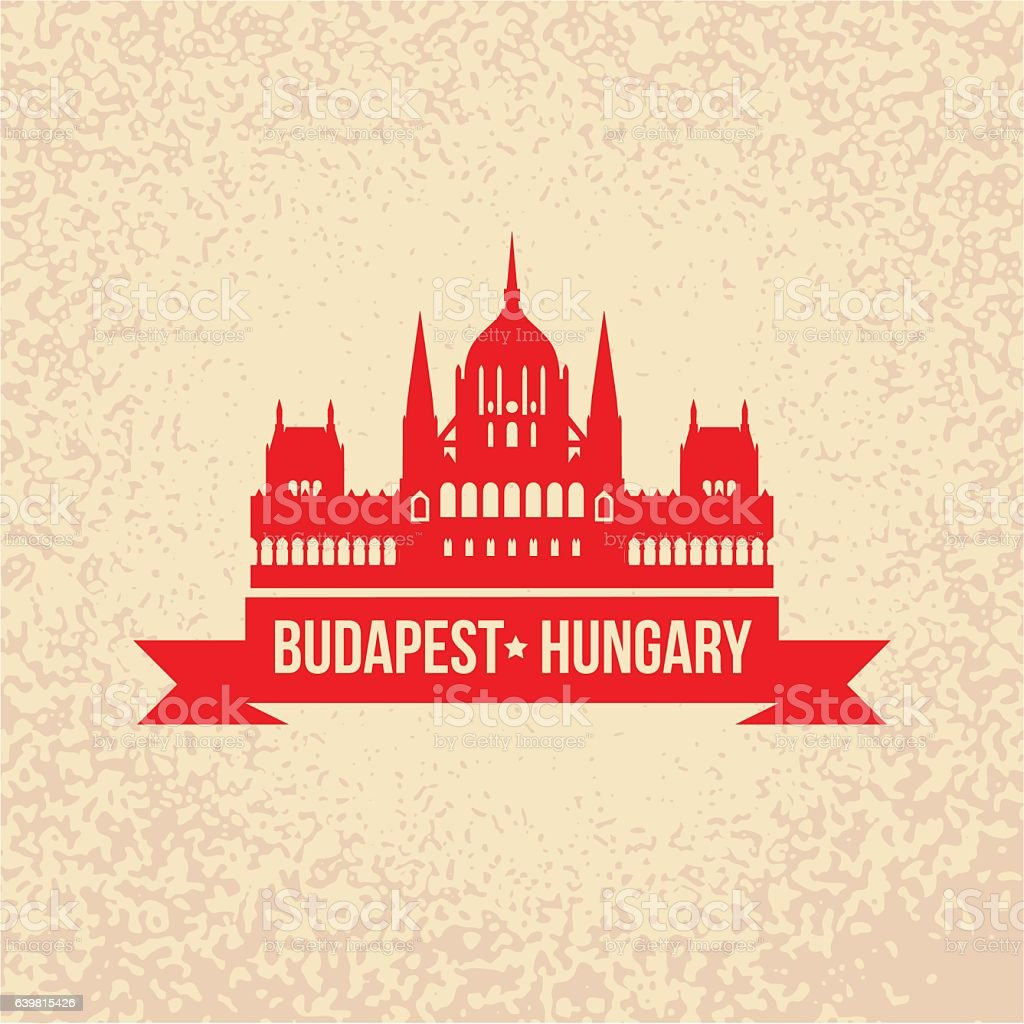 Hungarian Parliament Building. The symbol of Budapest, Hungary. vector art illustration