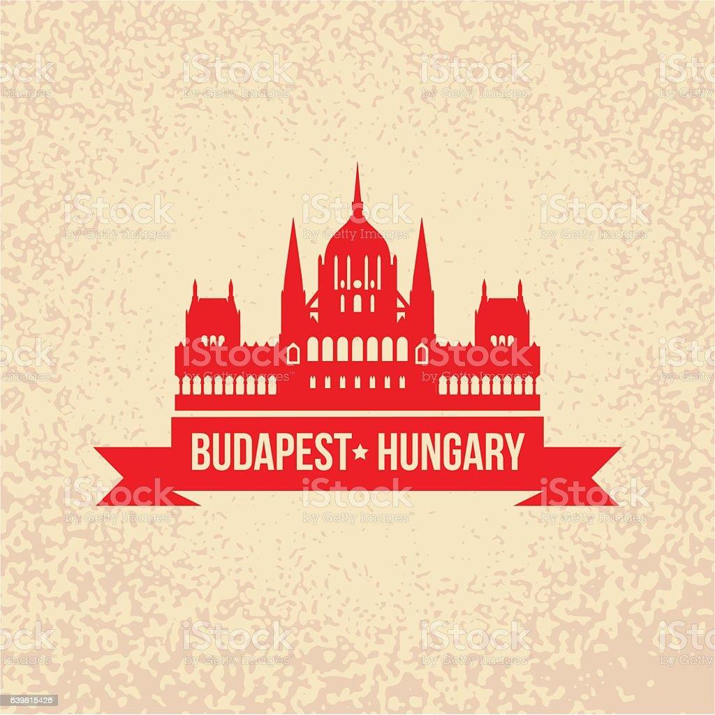 Hungarian Parliament Building. The symbol of Budapest, Hungary. – Vektorgrafik