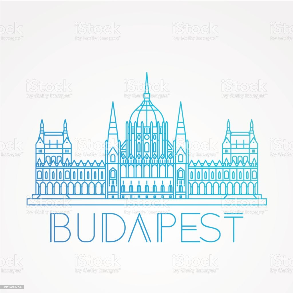 Hungarian Parliament Building the symbol of Budapest vector art illustration