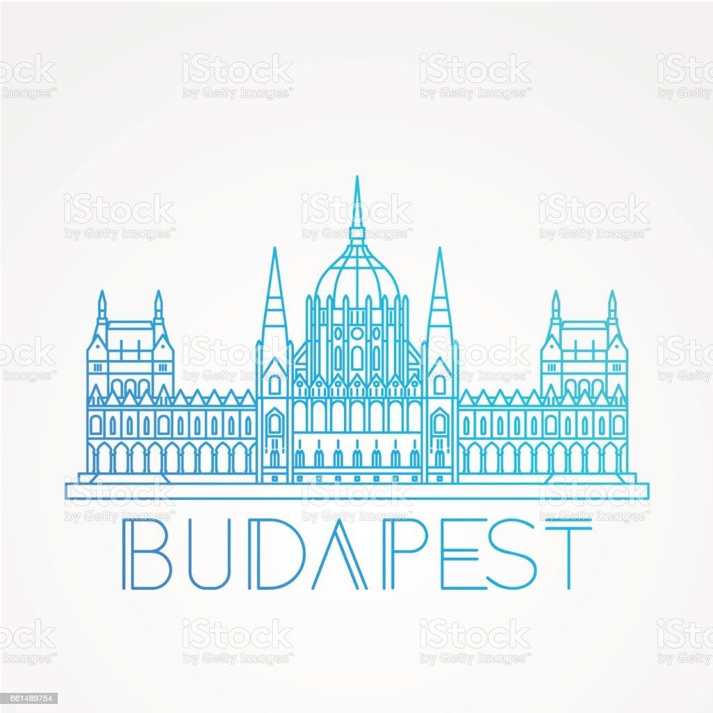Parlamentsgebäude, das Symbol von Budapest – Vektorgrafik