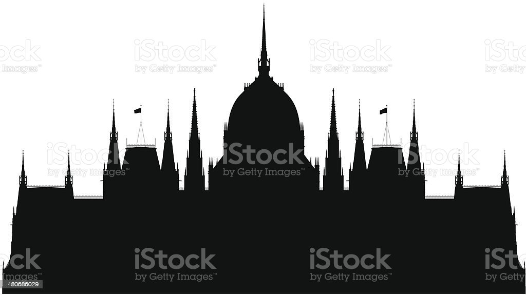 Hungarian Parliament Building vector art illustration