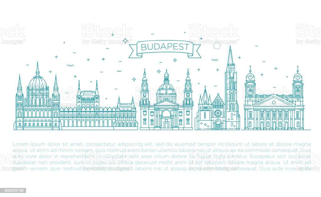 Hungarian travel landmark of historical buildings thin line icon set vector art illustration