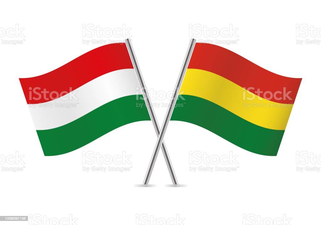 Banderas de Hungría y Bolivia. Ilustración de vector. - ilustración de arte vectorial