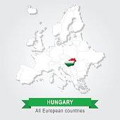 Hungary. Europe administrative map.