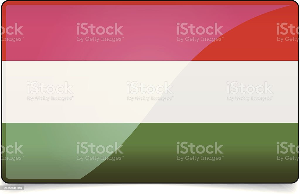 Hungary flag button with reflection and shadow. Isolated glossy vector art illustration