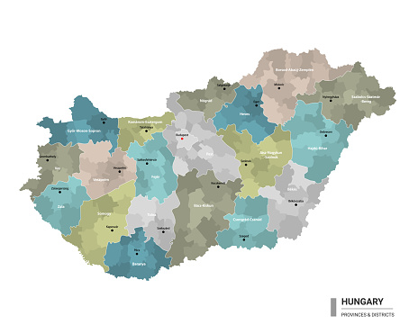 Hungary higt detailed map with subdivisions. Administrative map of Hungary with districts and cities name, colored by states and administrative districts. Vector illustration.