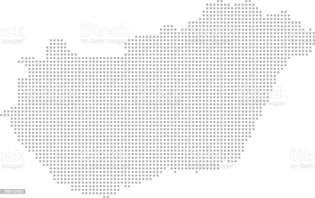 This abstract dotted map of Hungary is accurately prepared using the...
