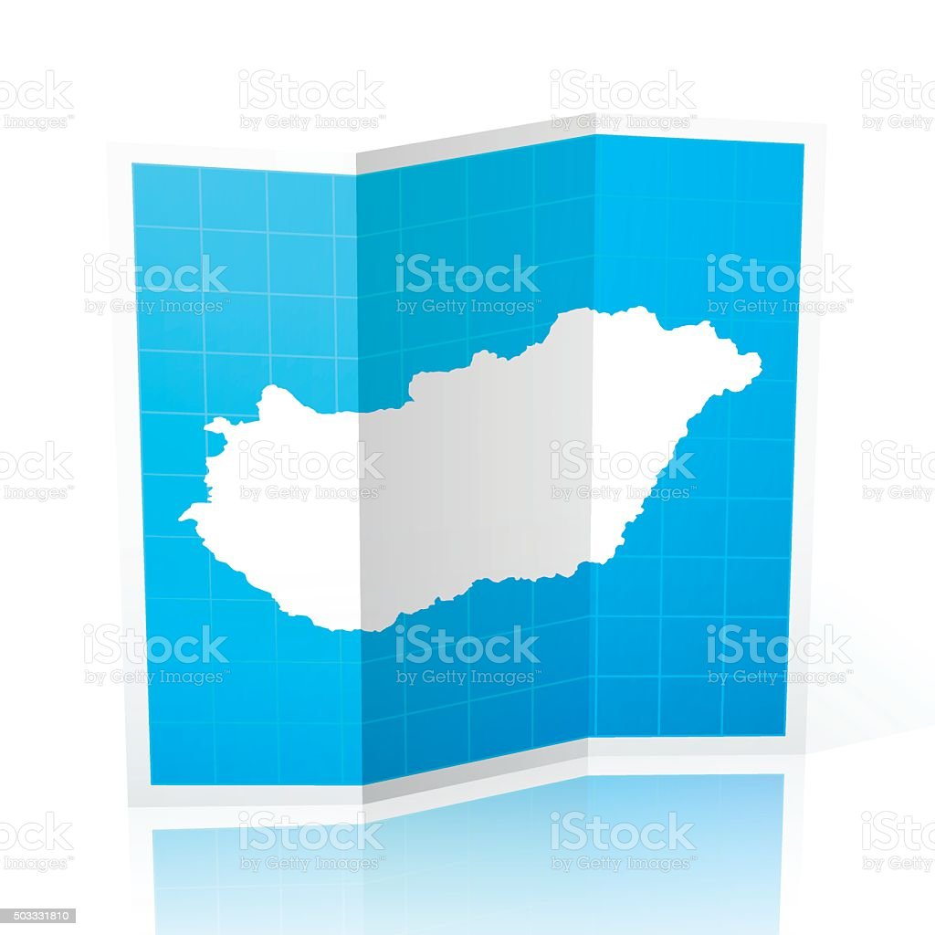 Map of Hungary folded and isolated on white background with a...