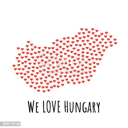 Hungary Map With Red Hearts Symbol Of Love Abstract Background Stock