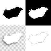 Hungary maps for design - Blank, white and black backgrounds