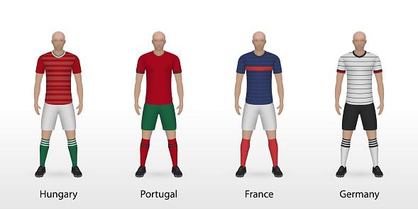 Hungary, Portugal, France, Germany national football teams set soccer kits