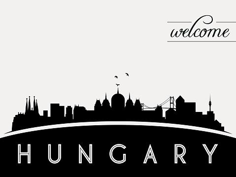 Hungary skyline silhouette vector illustration