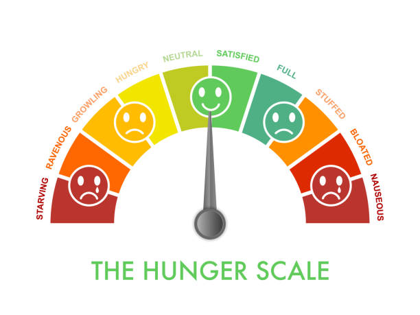 hunger-fullness scale 0 to 10 for intuitive and mindful eating and diet control. arch chart indicating hunger stages to evaluate level of appetite. emoji faces show emotion.vector illustration clipart - dostatek stock illustrations