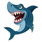 istock Hungry angry cartoon great white shark wiith big teeth isolated 623922054