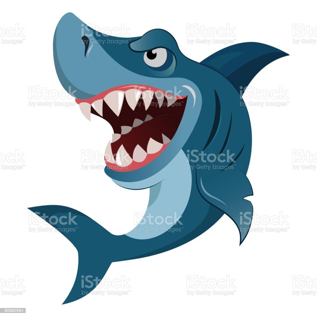 Hungry angry cartoon great white shark wiith big teeth isolated vector art illustration