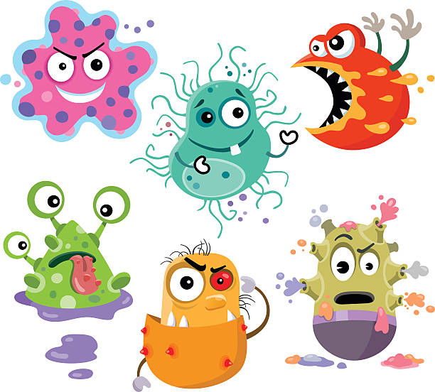 Hungry Bacteria A vector cartoon of six hungry bacteria ready to go to work. unhygienic stock illustrations