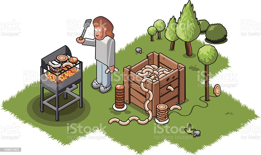 Hungry BBQ cook vector art illustration