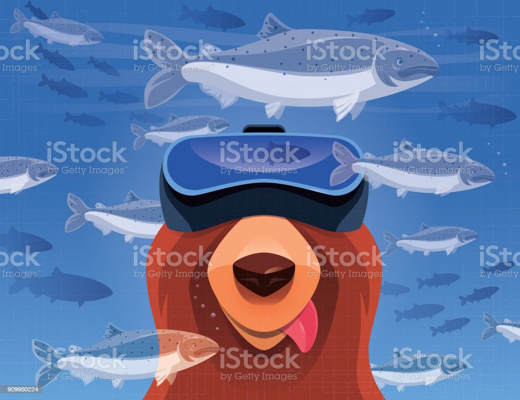 hungry bear watching salmons with VR goggles vector art illustration