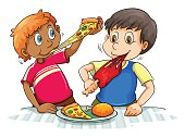 Hungry boys eating