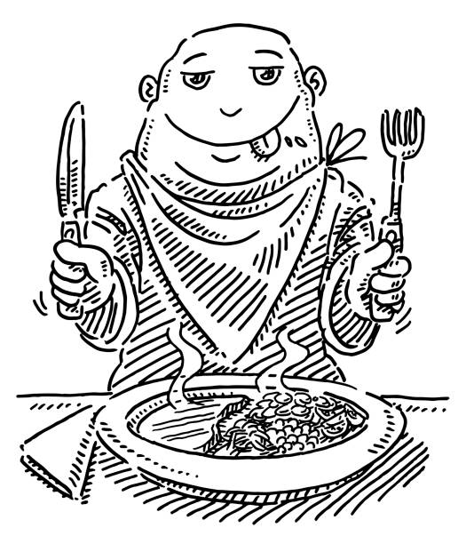 Hungry Cartoon Figure At Dining Table Drawing Hand-drawn vector drawing of a Hungry Cartoon Figure At Dining Table. Black-and-White sketch on a transparent background (.eps-file). Included files are EPS (v10) and Hi-Res JPG. cartoon character figure stock illustrations