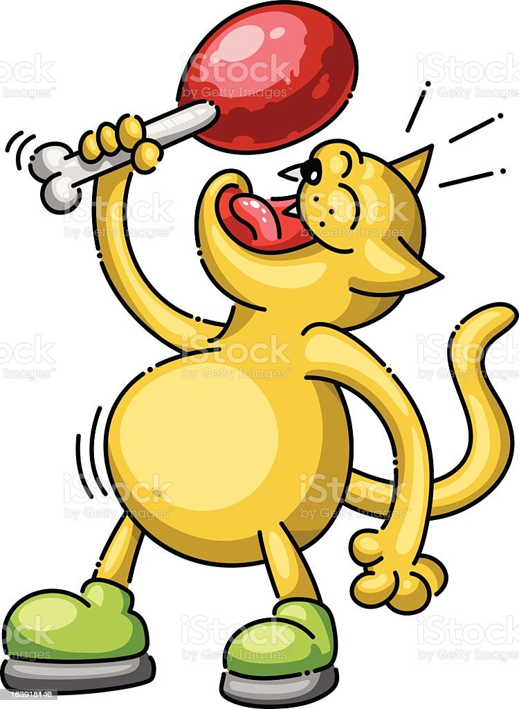 Hungry cat about to eat meat on a bone (vector) vector art illustration