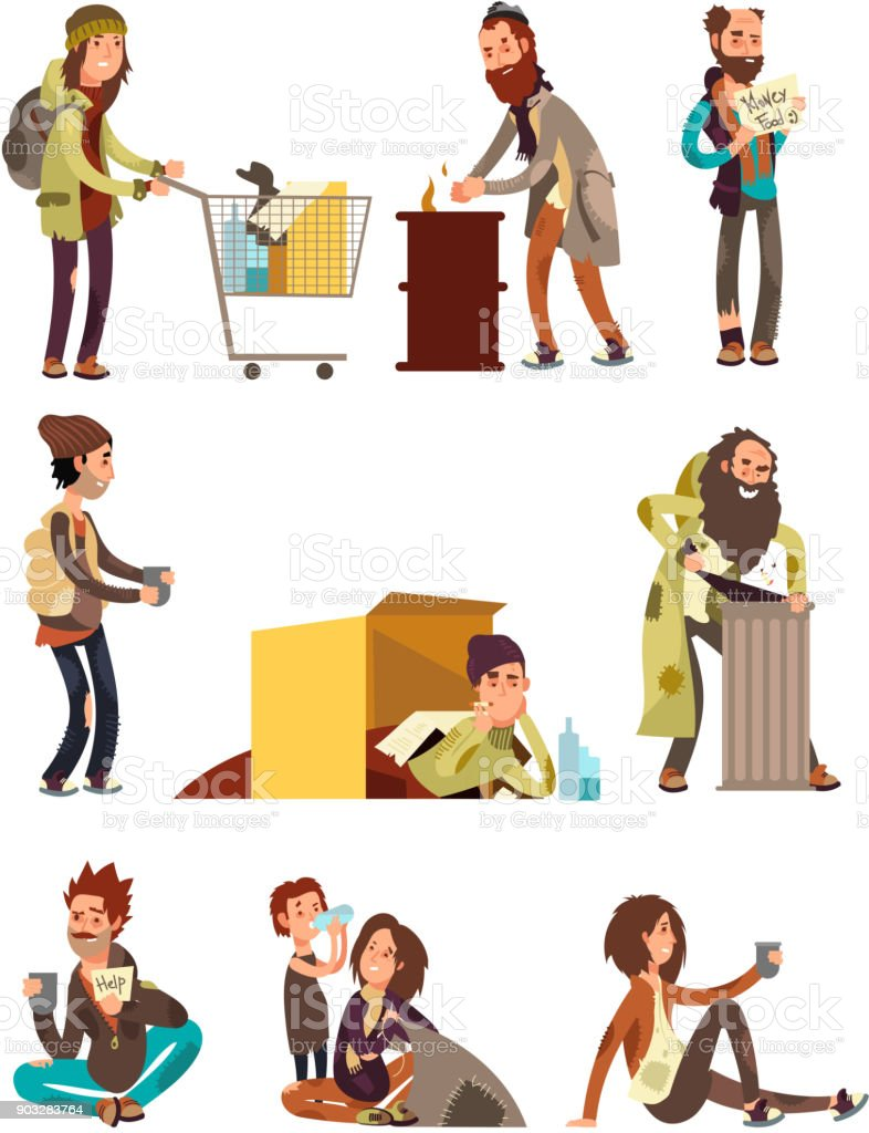Hungry dirty homeless people. Adult woman and man begging money vector characters set vector art illustration