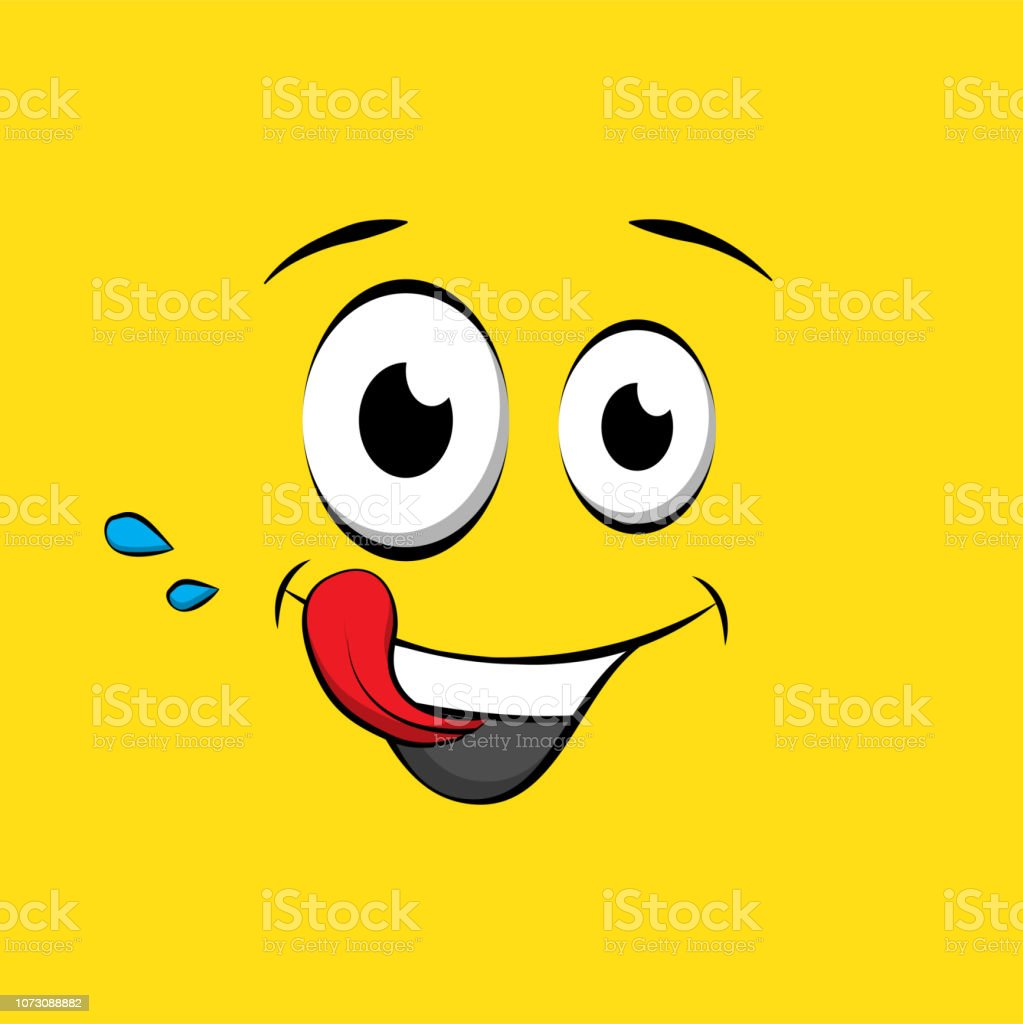 Hungry Emoticon Or Emoji Face On Yellow Background Yummy Yellow