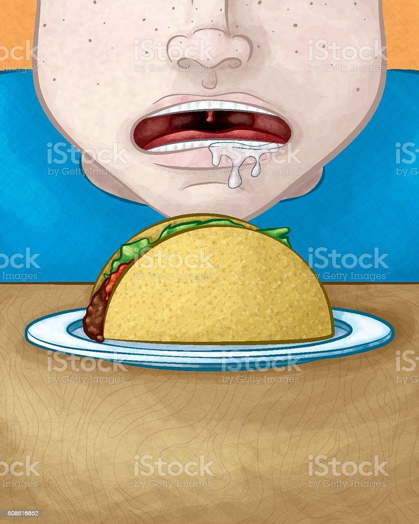 Hungry Face with Taco vector art illustration