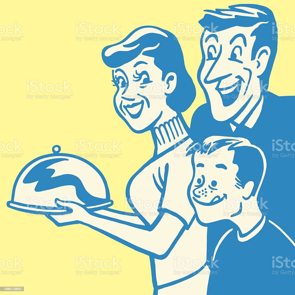 Hungry Family and Dinner Tray vector art illustration