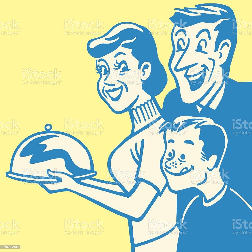Familia deseosa de bandeja y la cena - ilustración de arte vectorial