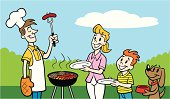 Great illustration of a family having a barbecue. Perfect for the summer grilling season. EPS and JPEG files included. Be sure to view my other food illustrations, thanks!
