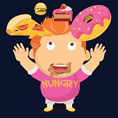 hungry fat boy and his falling dessert - vector illustration