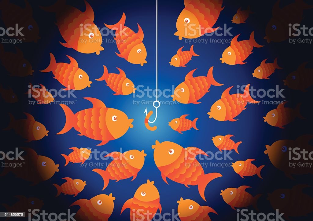 Hungry fish and bait vector art illustration