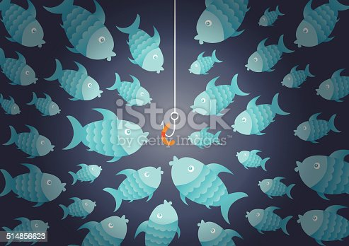 istock Hungry fish and bait 514856623