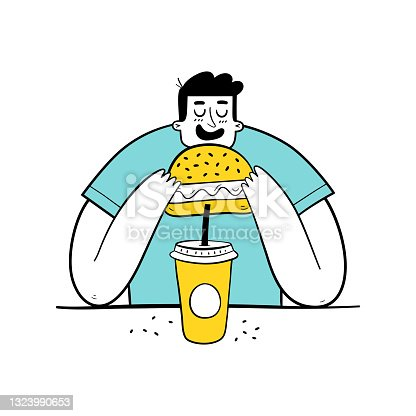 istock Hungry man eating burger and drinking soda. Overweight teenager eating fast food. 1323990653