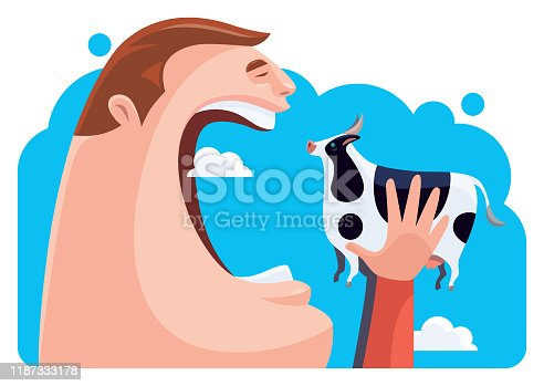 istock hungry man eating cow 1187333178