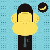 Vector illustration - hungry monkey worker.