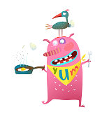 Fun cartoon of birdie and and a hunger monster.Vector illustration.