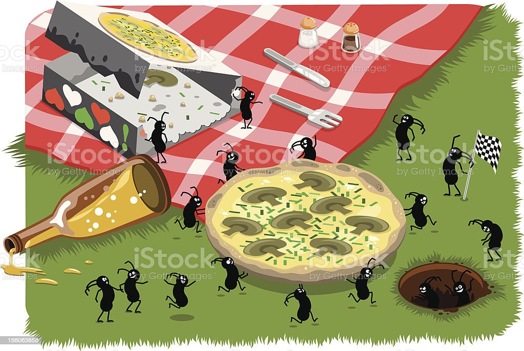 Hungry picnic ants stealing pizza (vector) royalty-free stock vector art