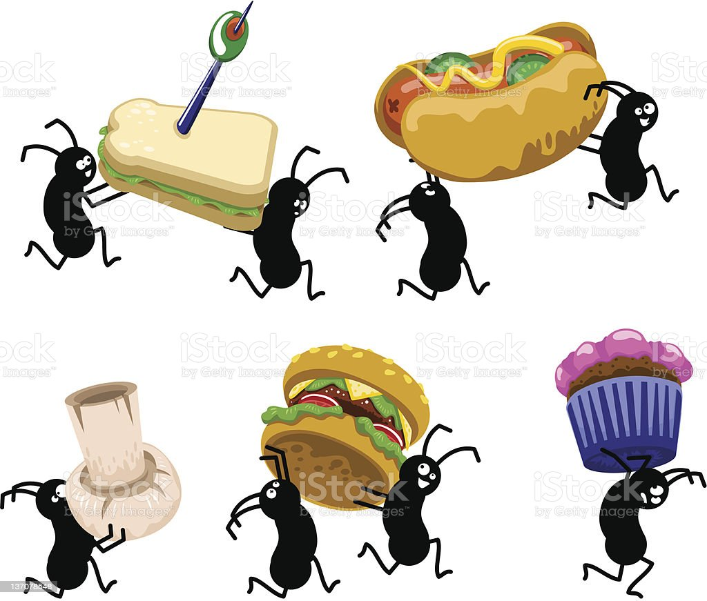 Hungry picnic ants stealing snacks (vector) vector art illustration