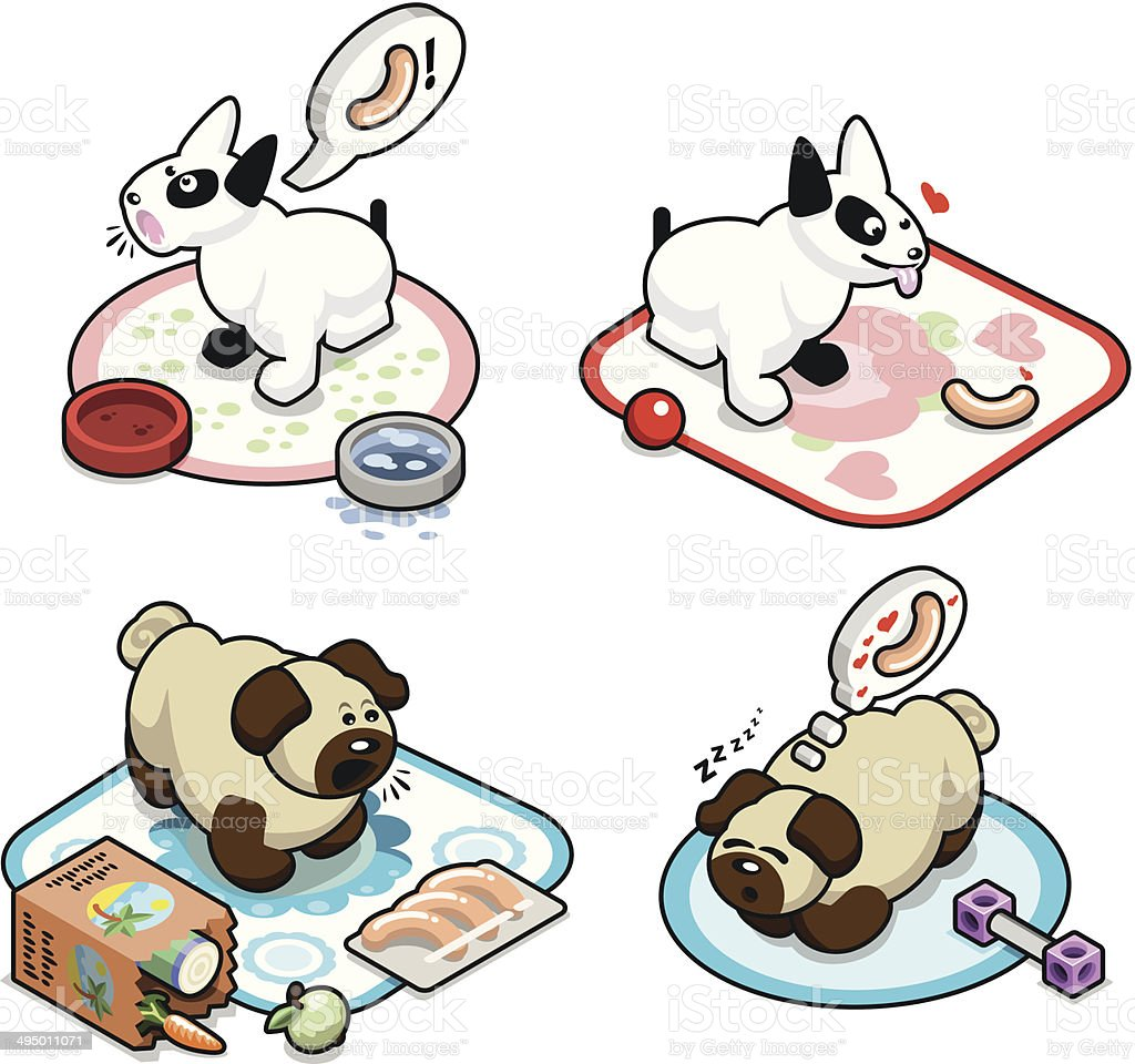 Hungry pug pups and bullterrier pups with wieners - vector vector art illustration