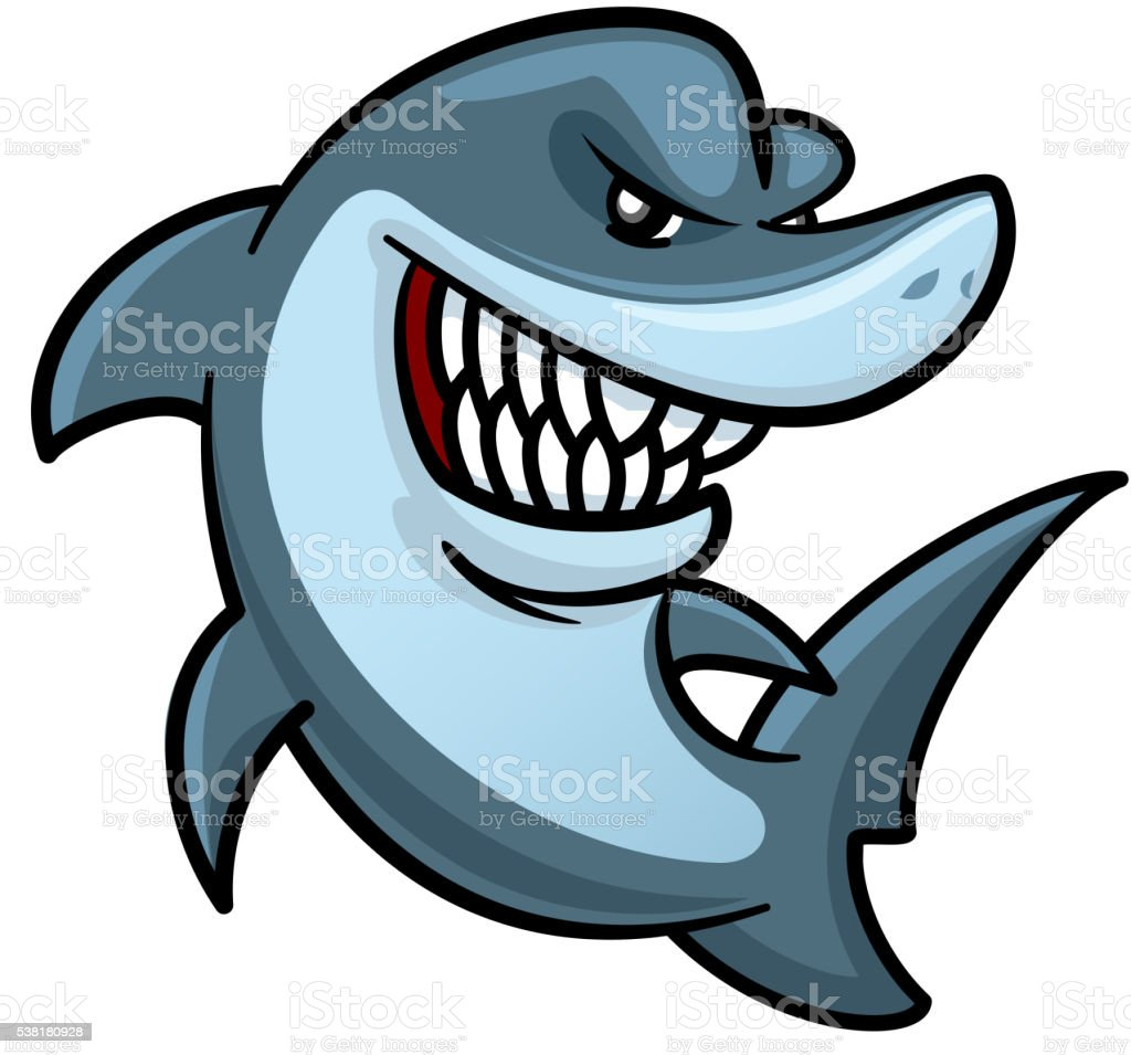 hungry shark with toothy smile cartoon character stock vector art