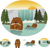 Two fun bears swimming in the water eating fish. Contains two scenes where bears are in different perspective