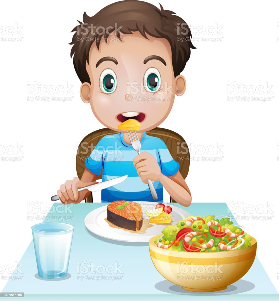 royalty free boy eating breakfast clip art vector images rh istockphoto com girl eating breakfast clipart family eating breakfast clipart