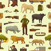 Hunt safari vector hunterman character in Africa with hunting ammunition or hunters equipment rifle shooting and african animals lion elephant wildlife set illustration seamless pattern background.