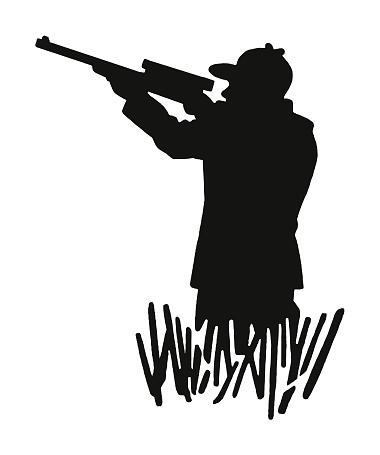 Hunter Aiming a Gun